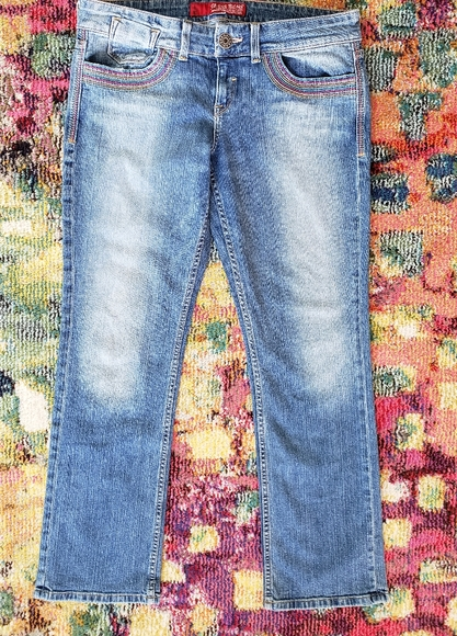 Guess Rainbow stitch medium wash jeans